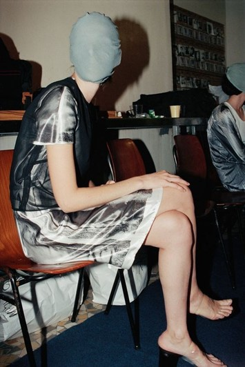 A model backstage at Margiela AW95