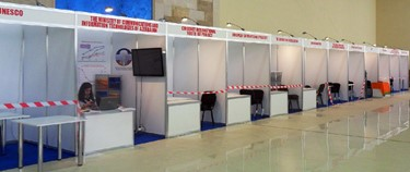 Stalls at the Internet Governance Forum in Baku, A