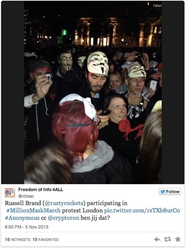 Russell Brand at Million Mask March London