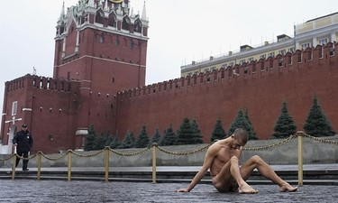 Petr Pavlensky nailing testicles Red Square