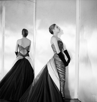 A model wears the Butterfly gown from 1954