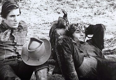 Joe Dallesandro Eric Emerson on set of Lonesome Cowboys