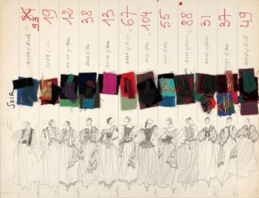 Original sketches with swatches. Evening Gowns and
