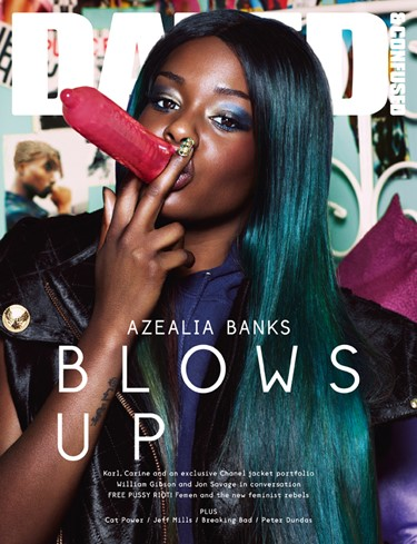 AZEALIA BANKS wears jacket by Balmain; hoodie from
