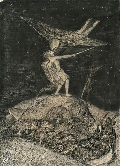 Paul Nash, The Combat Angel or Devil, 1910