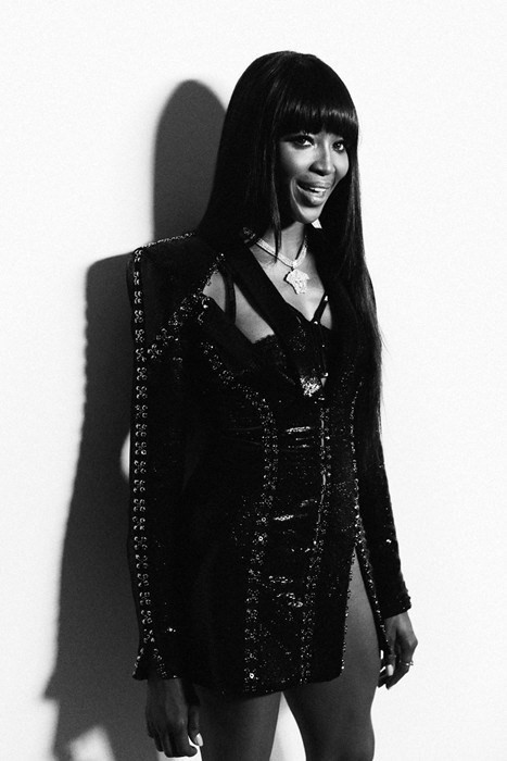 Naomi Campbell backstage at the Versace's AW14 couture show