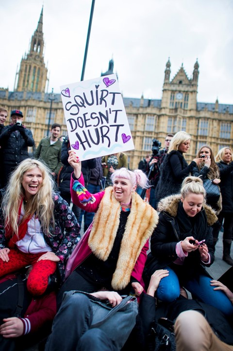 Westminster mass face-sitting UK porn ban protest