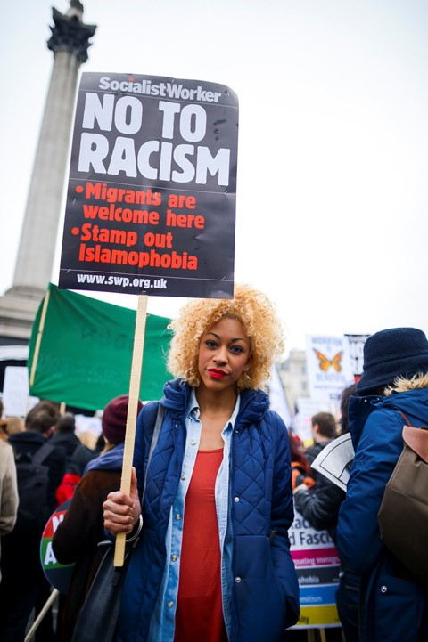 Anti-racism demonstration London UK