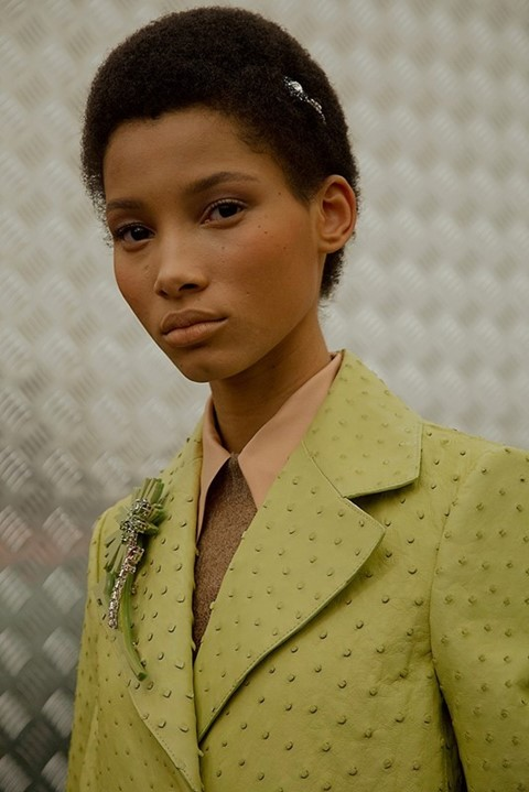 Lineisy Montero (Next) backstage Prada AW15, Dazed new faces