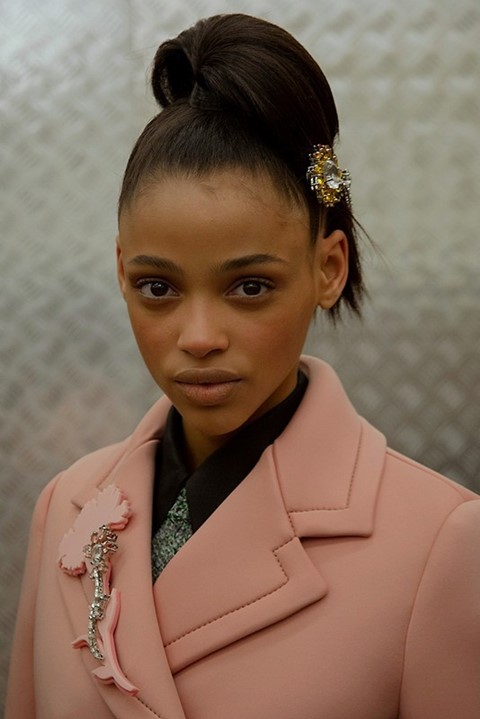 Aya Jones (Monster) backstage at Prada AW15