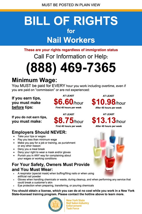 Nail salon workers' Bill of Rights placard