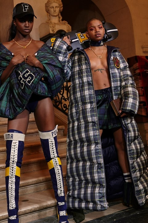 Leomie Anderson (left) and Slick Woods backstage at Fenty by