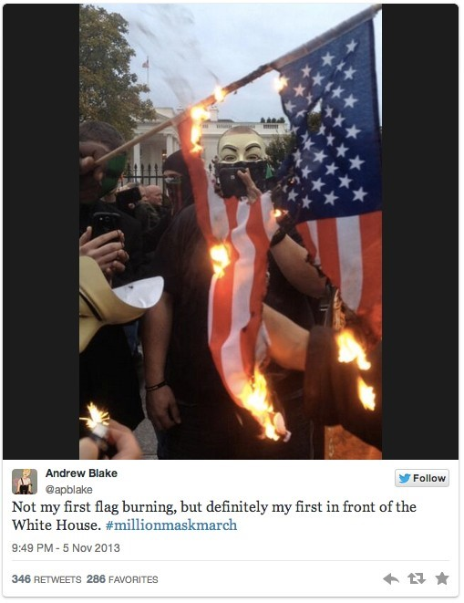 Flag burning on Anonymous Million Mask March