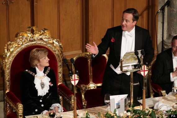 david cameron on a golden throne