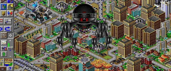 1) sim city 2000 screenshot - a monster terrorizes