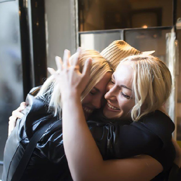FEMEN founders embrace after leaving Ukraine