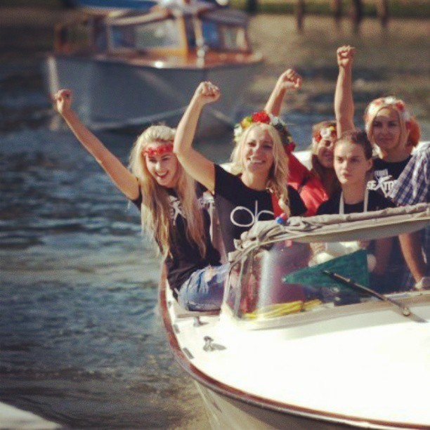 FEMEN members on a boat at Venice Film Festival