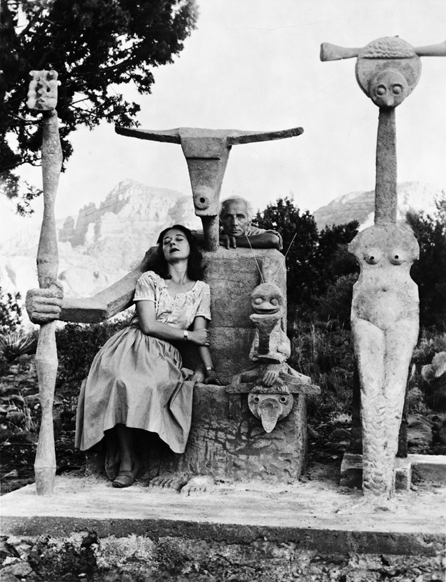 Dorothea Tanning and Max Ernst with his sculpture,