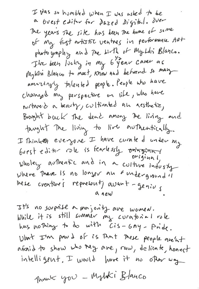 Mykki Blanco guest editor letter