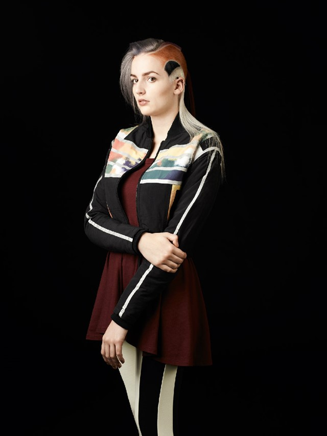 CHLOE wears jacket by ADIDAS ORIGINALS X OPENING C