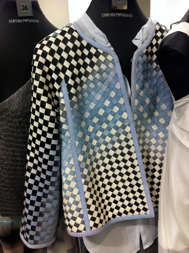 The leather woven jackets from Emporio Armani.