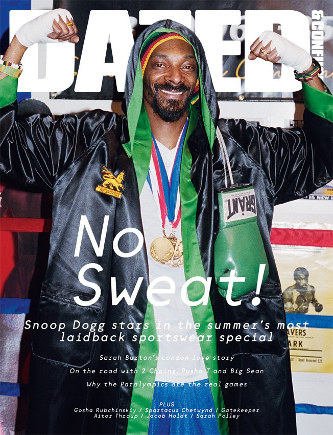 SNOOP DOGG wears satin boxing robe by EVERLAST; t-
