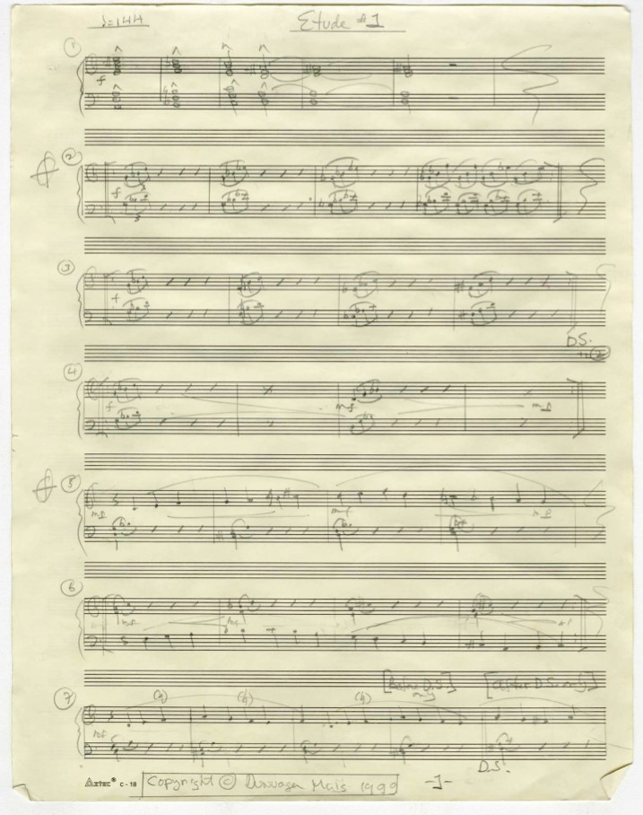 The score for Etude 1, by Philip Glass