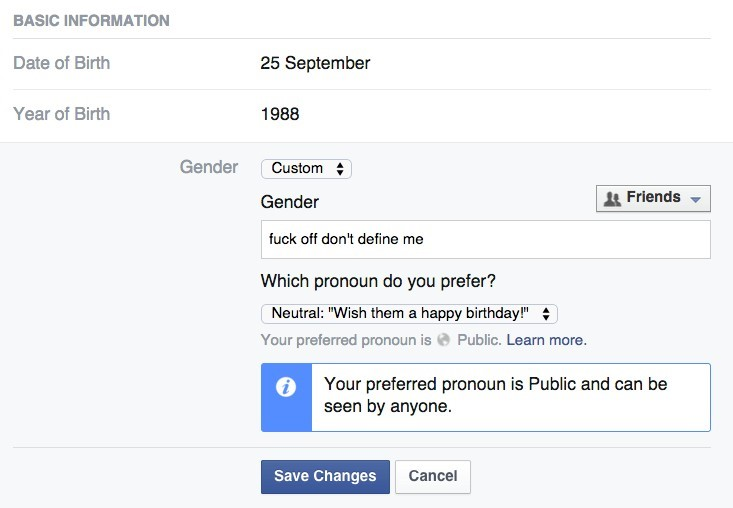 Facebook LGBT gender custom