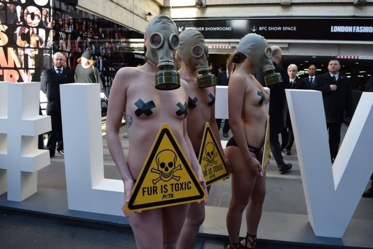 Anti-fur protestors at London Fashion Week in February