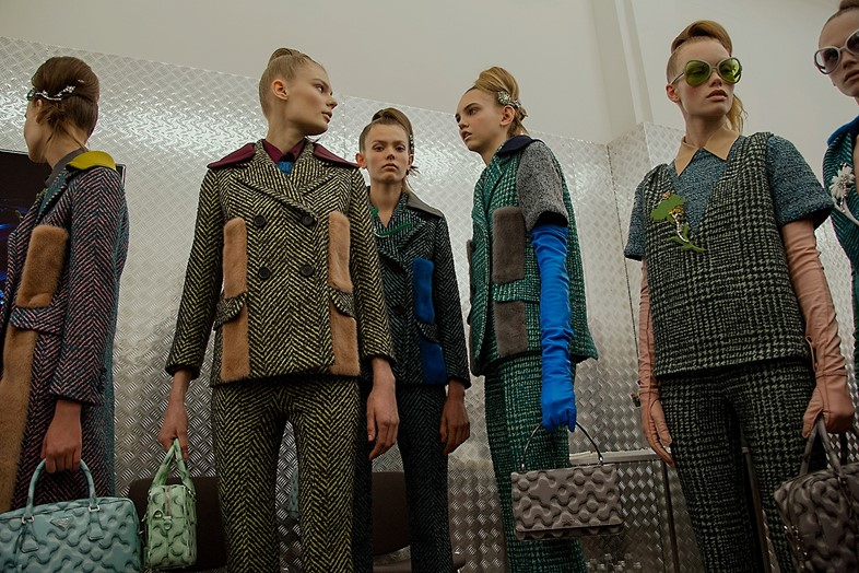 Prada AW15, Dazed backstage, Milan, Womenswear, houndstooth