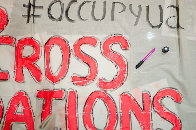 Close up of a banner