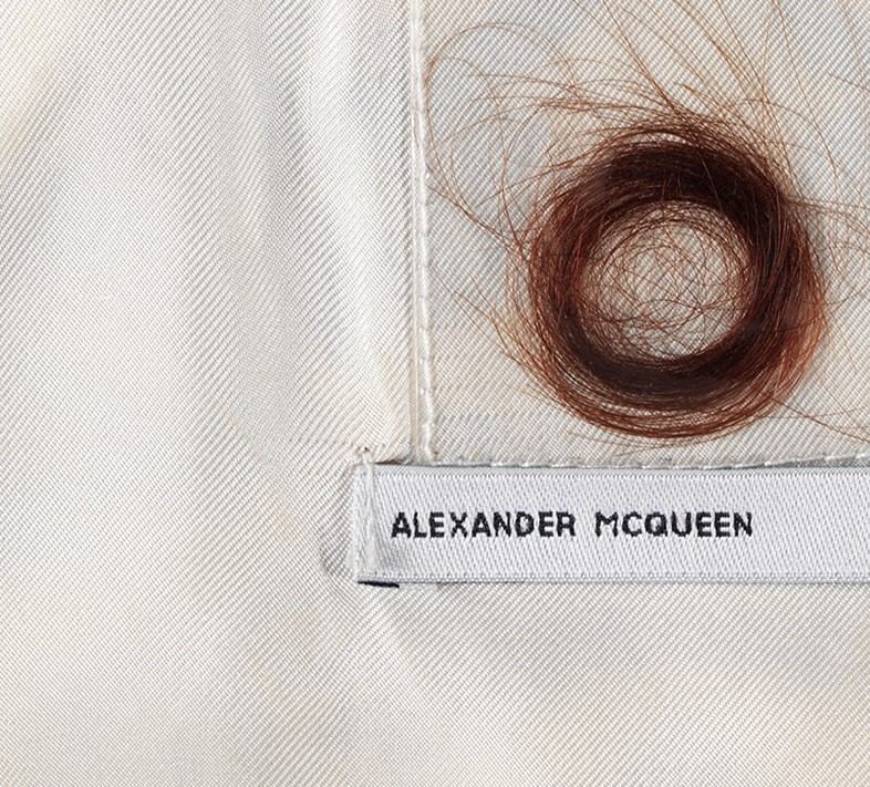 A hair label from McQueen's AW96 'Dante' collection