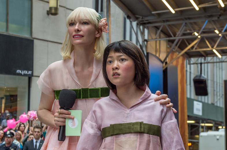 Tilda Swinton and Ahn Seo-hyun in Okja