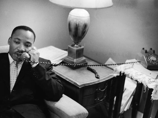 Martin Luther King on telephone