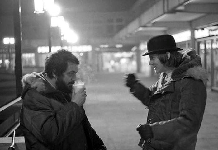 Kubrick onset with Malcolm McDowell