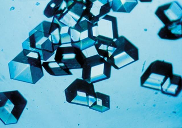 A close-up of space-grown insulin crystals