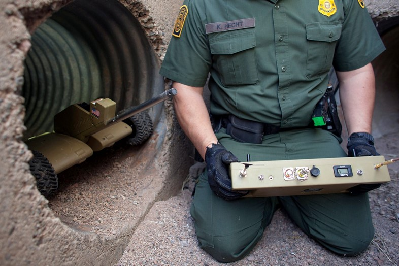 a tactical patrol robot that explores drug tunnels to Mexico