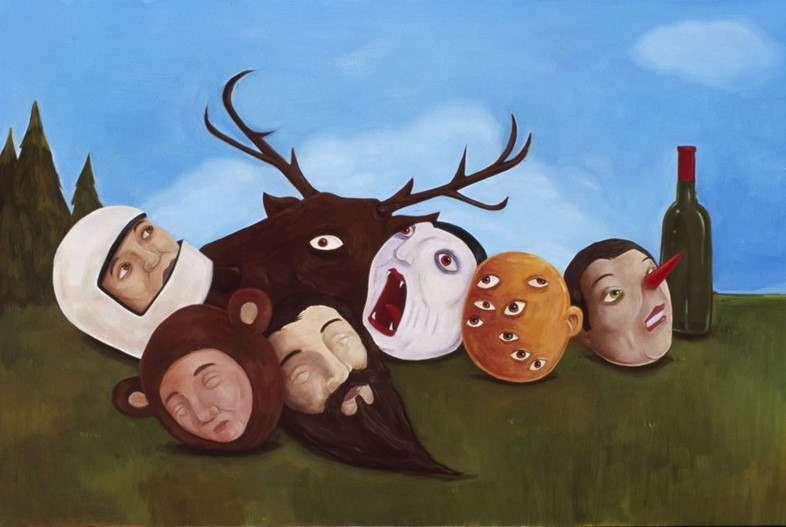 """.""""hanging with the gang"""" oil on wood 2008"""