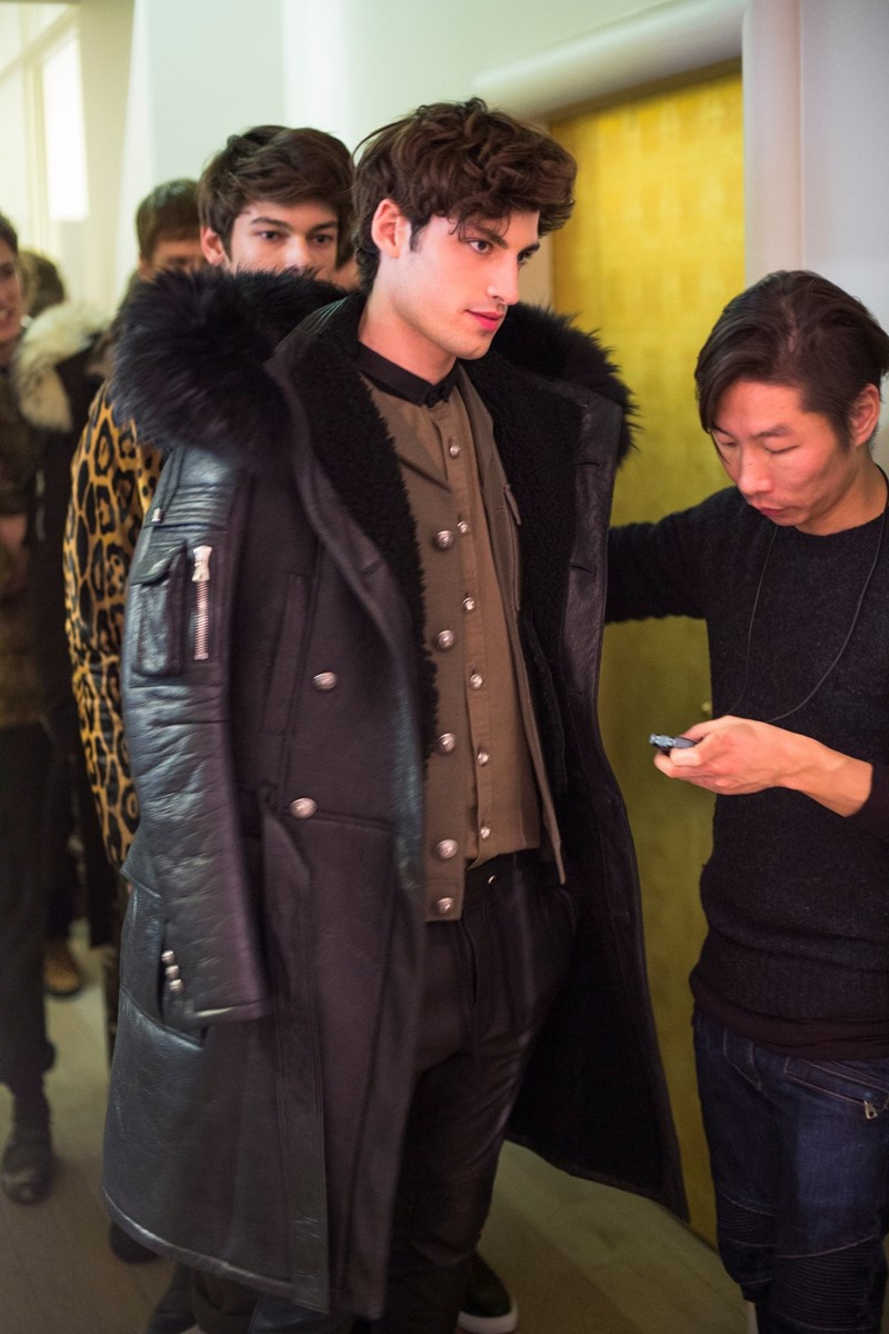 Backstage at Balmain Homme AW14