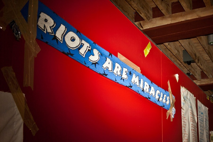 Riots are miracles scarf at the Free University of London