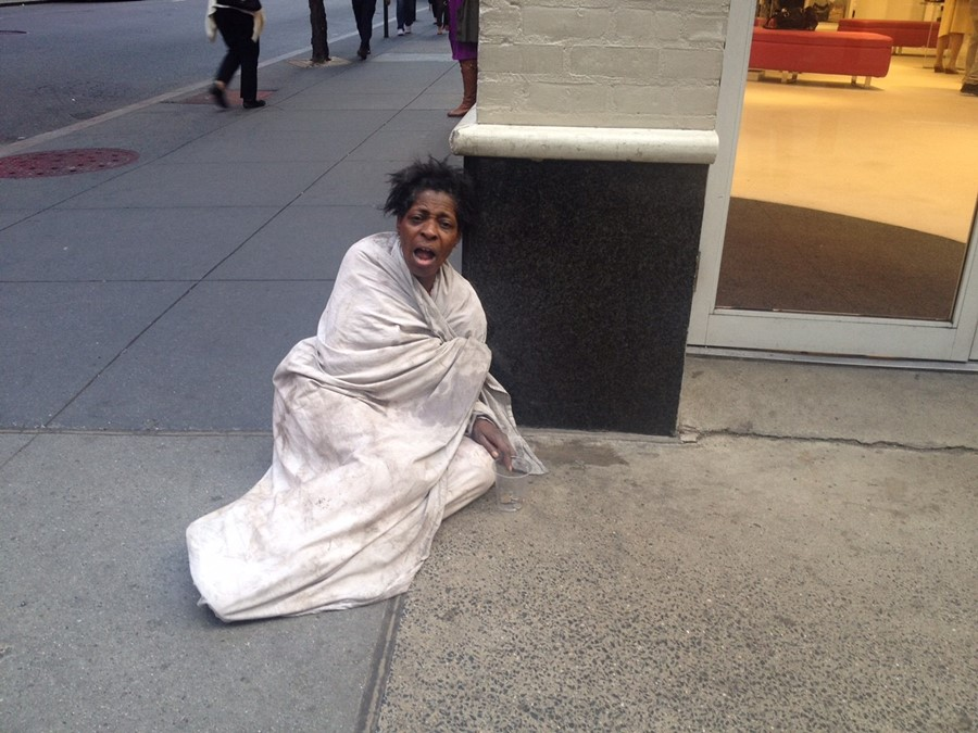 Homeless woman in New York