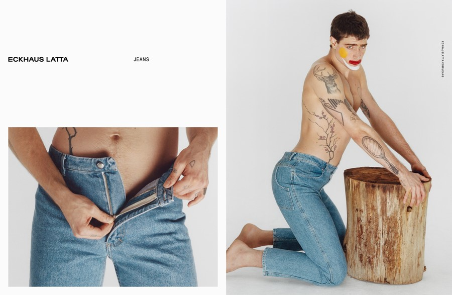 eckhaus latta denim ss18 campaign hanna moon clown