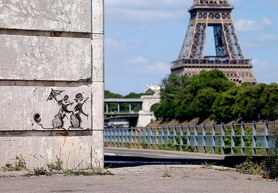 Banksy mural in Paris, 27 June 2018